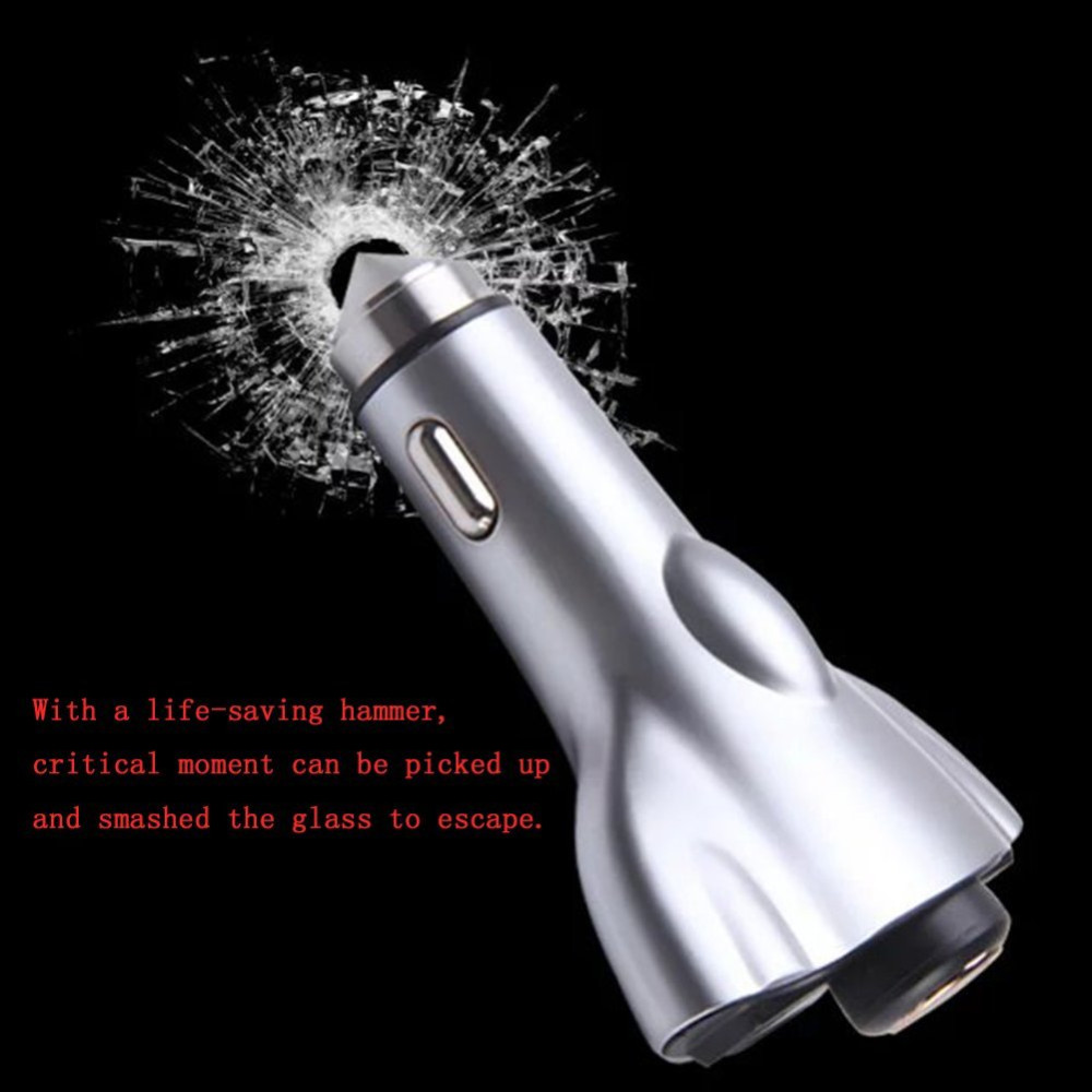 4 in1 Dual USB Car Charger Safety Hammer Wireless Bluetooth Earphone Auto Adapter with HeadsFree Earbuds with Mic for Cell Phone