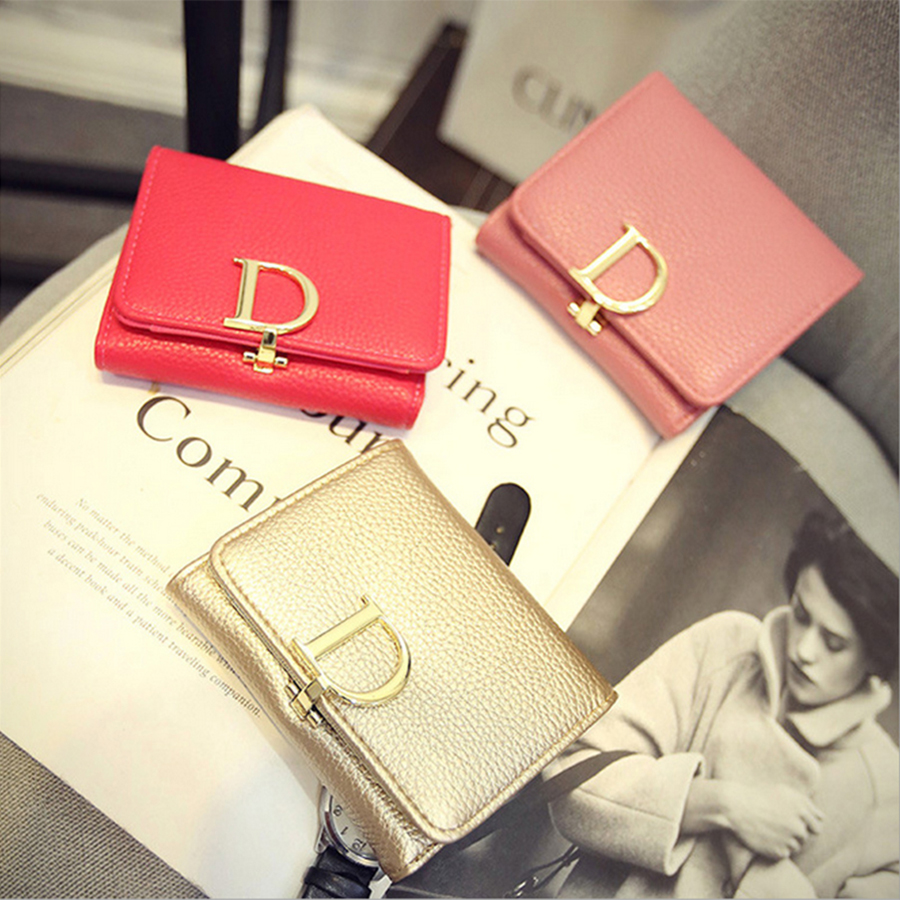 The new listing beautiful fashion solid hasp short korean version genuine leather mini wallet free shipping<br><br>Aliexpress