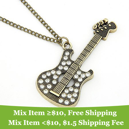 New Fashion Personality Rhinestone Guitar Necklace 2015 Fine Jewelry Crystal Necklaces For Women Summer Style wholesale LS53(China (Mainland))