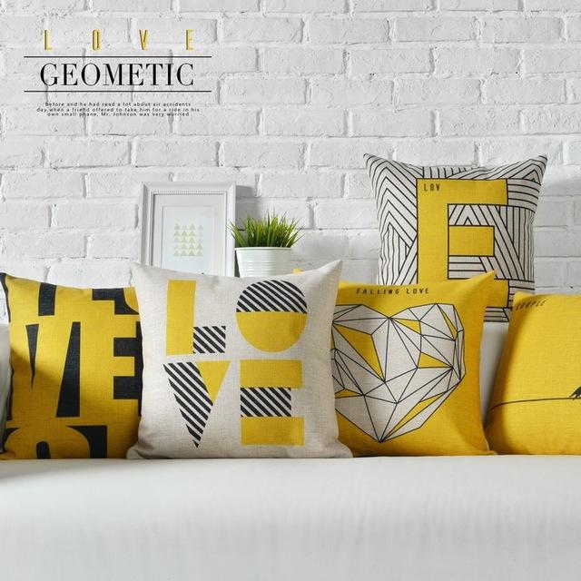 Nordic Геометрическая подушка, Желтый чехлы Полоса Подушка, поясничной подушки бросить подушки главная декоративные диванные подушки