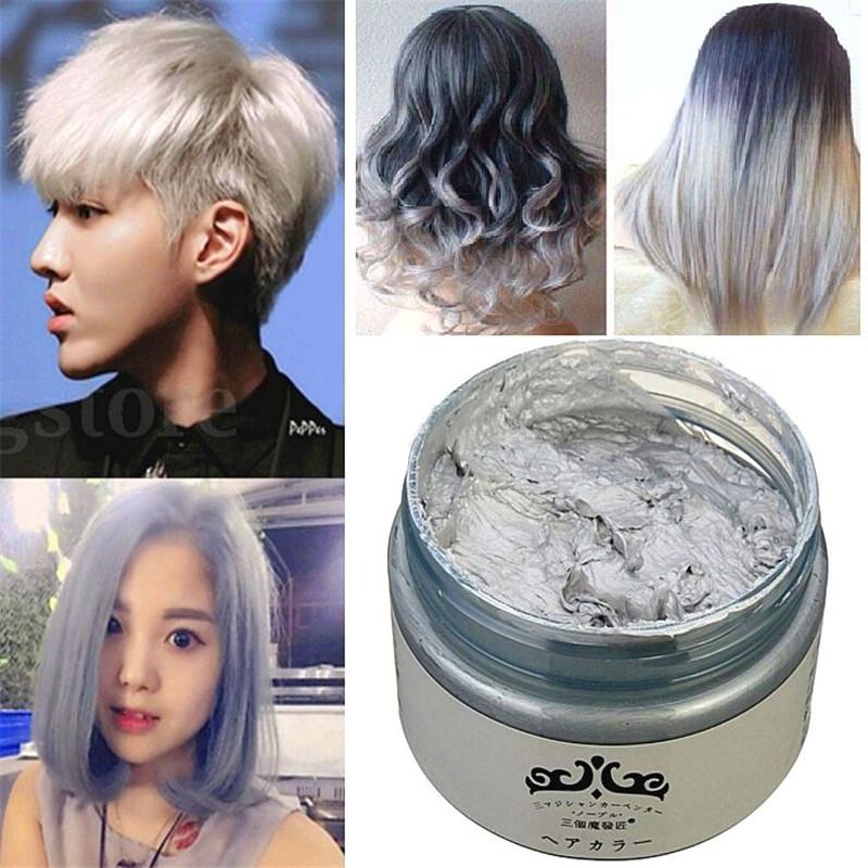 Fd4713 New Grey Silver Diy Hair Color Wax Mud Dye Coloring