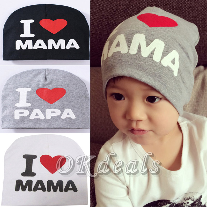Cute Warm I LOVE MAMA PAPA Knitted Cotton Beanie Cap for Baby Boy and Girls LOVE