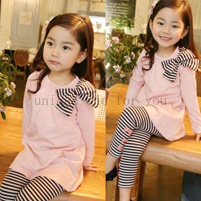 Autumn baby girls clothes set bow long sleeve shirts + striped leggings outfit baby suit for baby kids girls clothing sets(China (Mainland))