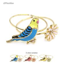 Japan Hot Selling Rings Set Korean Cute Style Parrot Daisy Gem Flower Rings Free Shipping Female Finger Rings Sisters Gift Ring