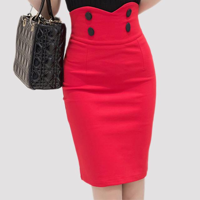 2016 Высокой Упругой Женщины Юбки Sexy Тонкий Сплошной Цвет Черный красный Двойной Кнопка высокая талия Карандаш Юбки для женщин Размер 5XL
