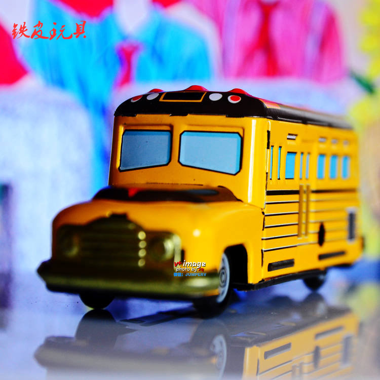 AIMI Nostalgic classic iron sheet wind up toys big yellow school bus accidnetal  -7C09C