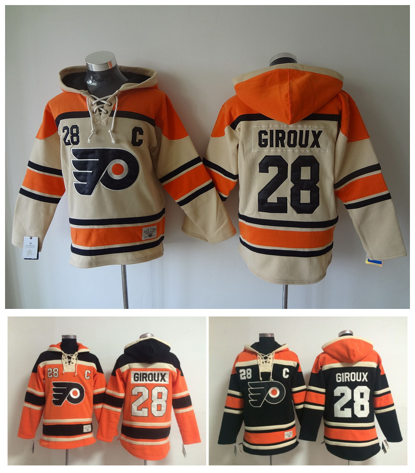 Cheap Old Time Hockey Jerseys Philadelphia Flyers Hoody 28 Claude Giroux Hoodie Sports Authentic Pullover Sweatshirts Jacket