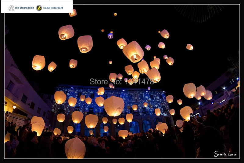 100%biodegradable!! Chinese Flying lampion wedding decorations 20ps/lot wishing sky lantern bag rope attached fuel celebration(China (Mainland))