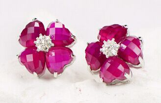 2015 Trendy Exquisite Original Synthetic Ruby-Corundum Four-leaf Clover 925 Sterling Silver Stud Earrings For Girls Hot Sale <br><br>Aliexpress