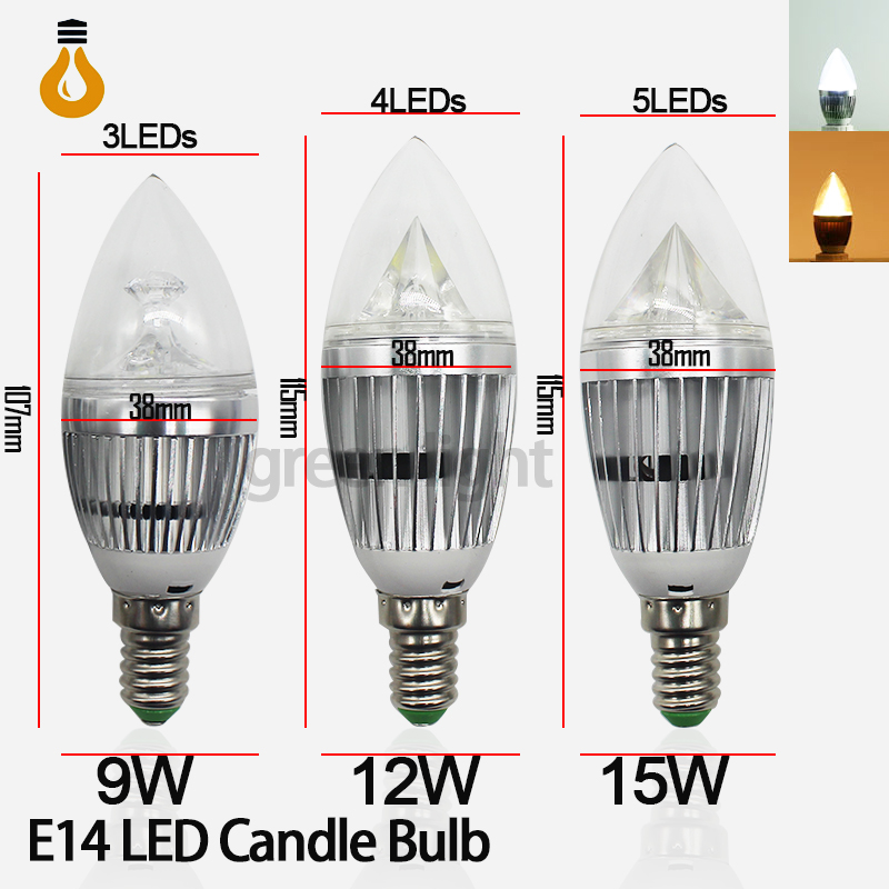 9W 12W 15W E14 AC220V LED Candle Bulbs 360 Degree bulb New Design lamp Replace Incandescent Light Energy Saving Dimmable(China (Mainland))
