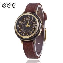 CCQ Brand Vintage Cow Leather Bracelet Watch Women Flower Engraved WristWatch Casual Luxury Quartz Watch Relogio Feminino 1353