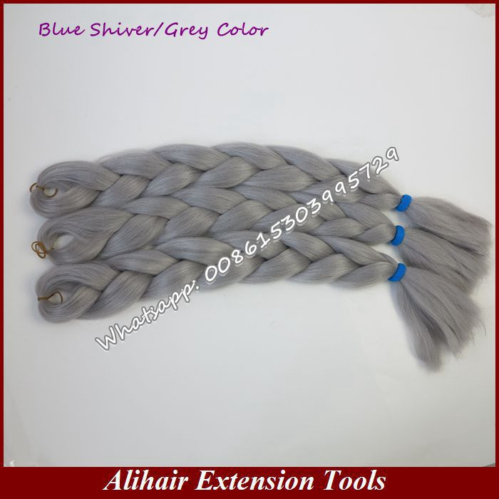 (3Packs Free Shipping)  24inch Folded 80grams/pack Solid Gray Single Color Kanekalon Xpression Synthetic Jumbo Braiding Hair<br><br>Aliexpress