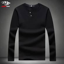2016 Men T shirt Summer Fashion T-shirt Long Sleeve Solid Top 5 Colors 5 Sizes decorative buttons solid color male T-Shirts 5XL