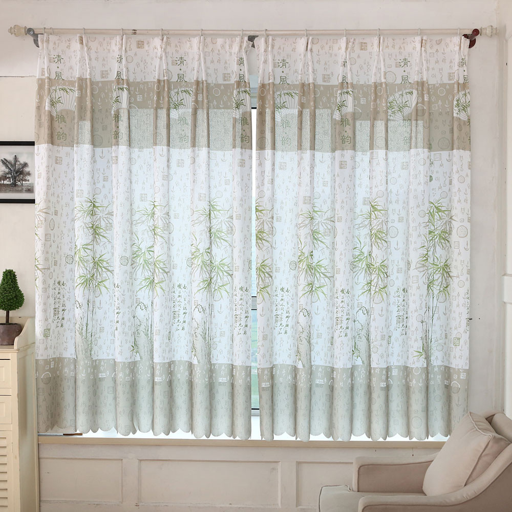 2016 new for bamboo print sheer window curtains for living room bedroom really good in - Curtains for the living room ...