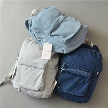 New denim backpack american apparel denim school bag denim school bag for teenagers laptop backpack(China (Mainland))