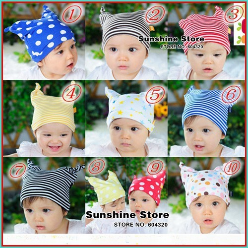 Stripe&Polka dots baby hat toddler boy/girl &star ears cap beanies baby winter newborn fotografia #2C2711 10 pcs/lot(10 colors)