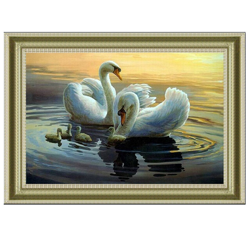 Needlework,DIY DMC Cross stitch,Sets For Embroidery kits,Precise Printed swans Patterns enough thread Counted Cross-Stitching(China (Mainland))