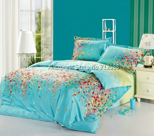 Wholesale 4pc queen full king cotton comforter duvet - Yellow and blue bedding queen ...