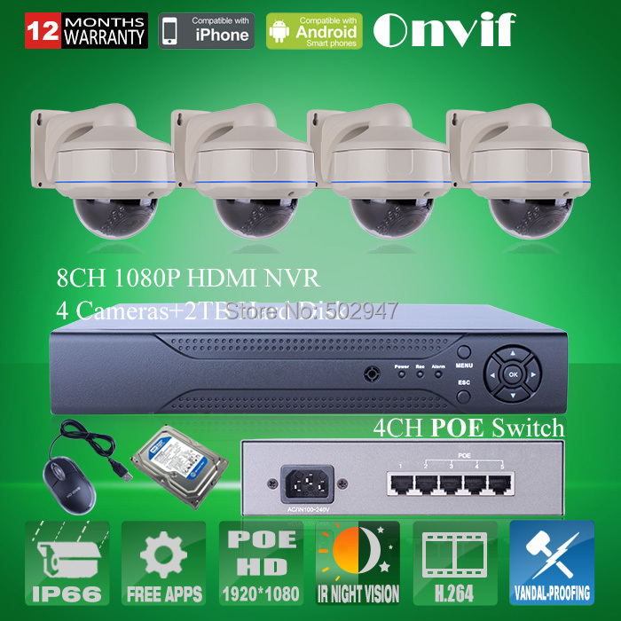Onvif 8CH H.264 NVR System 2MP HD 30 IR Vandalproof Dome PoE Network IP Camera 1080P CCTV Security Camera PoE Switcher + 2TB HDD(China (Mainland))