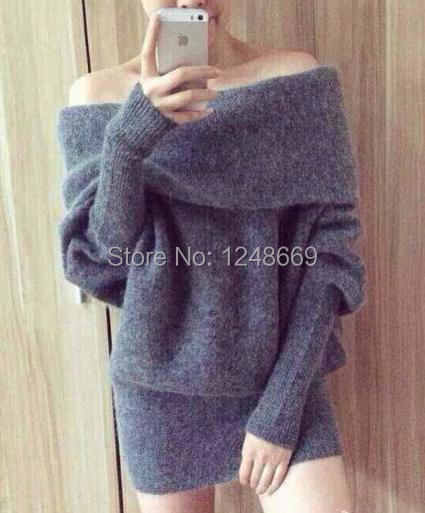 Spring New on sale mohair Sexy slash neck thick sweater dress Acne women mohair pullover sweater(China (Mainland))