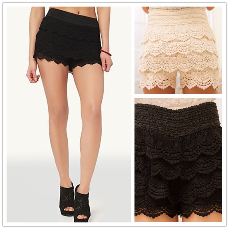 Shorts Women New Sweet Cute Womens Crochet Short Tiered Lace Shorts Skirts Back To School Gifts Drop Shipping Plus Size(China (Mainland))