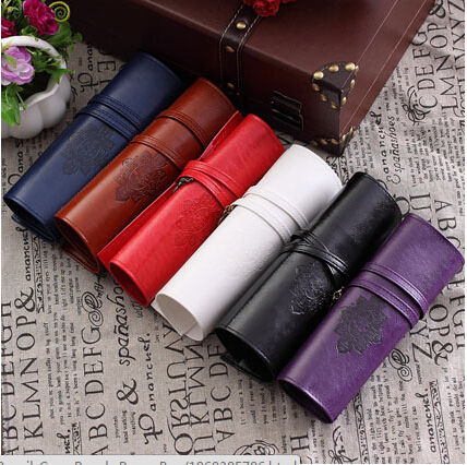 New designer Vintage Retro Roll Leather Make up Cosmetic Pen Pencil Case Pouch Purse Bag(China (Mainland))