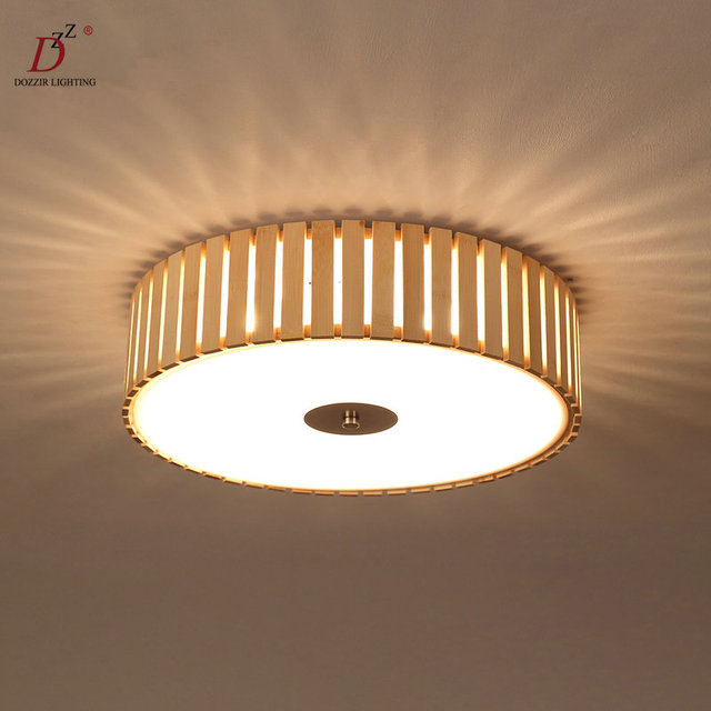 Modern rond wood ceiling lamp bedroom light home for Ceiling lamp wood