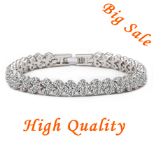 Newest Arrival Classic Roman Chain Bracelet For Women AAA Zircon Crystal & 3 layers of Platinum High Quality Jewelry YIB001(China (Mainland))
