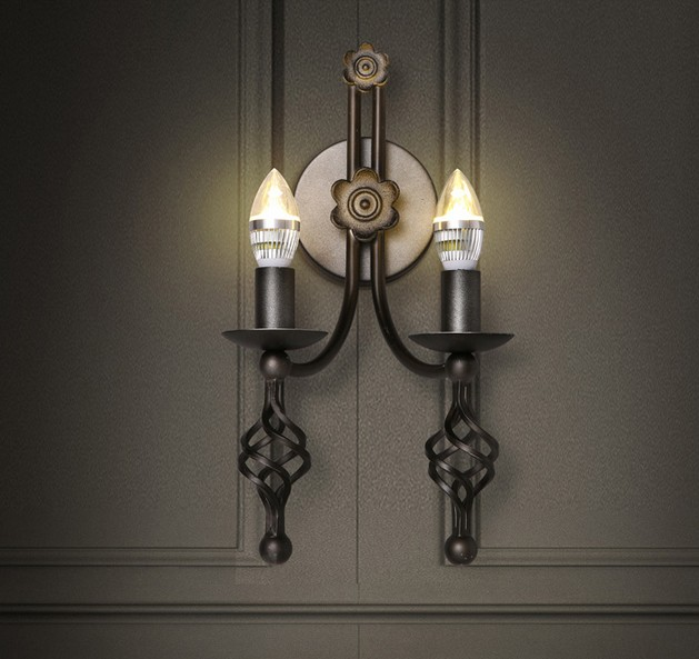 Wall Sconces In Dining Room : American Loft Style LED Wall Light Fixtures Iron Candle Wall Sconce For Dining Room Bedside Wall ...