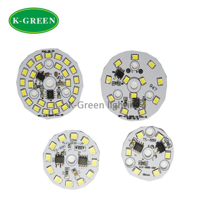 Здесь можно купить  50X 175-265V input 3W5W7W9W12W 2835SMD LED light board with integrated IC light engine cool white 6000-6500K free shipping  Свет и освещение