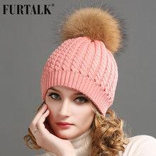 FURTALK Real Fur Hat Big Raccoon Pom Pom Hat Cashmere Wool Fox Pom bobble hat(China (Mainland))