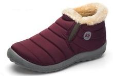 2016 Nuevas Mujeres y Hombres de Invierno Zapatos de la Nieve de Color Sólido botas de Algodón Interior Antideslizante Mantener Caliente Impermeables Botas De Esquí de Fondo, tamaño 45(China (Mainland))
