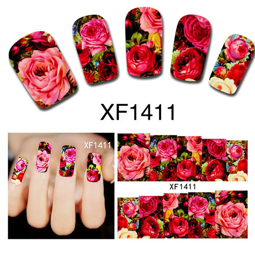 1 Sheet Water Transfer Nail Art Sticker Decal Sexy Red Rose Flowers Garden Design DIY Nail Decoration Manicure Tools #XF1411(China (Mainland))