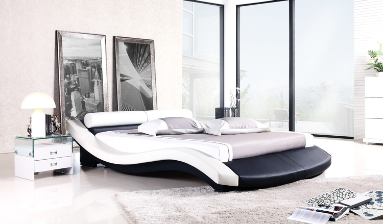 Modern bed french modern design top grain leather king queen size soft bed with bedside - Modern kinderbed ...