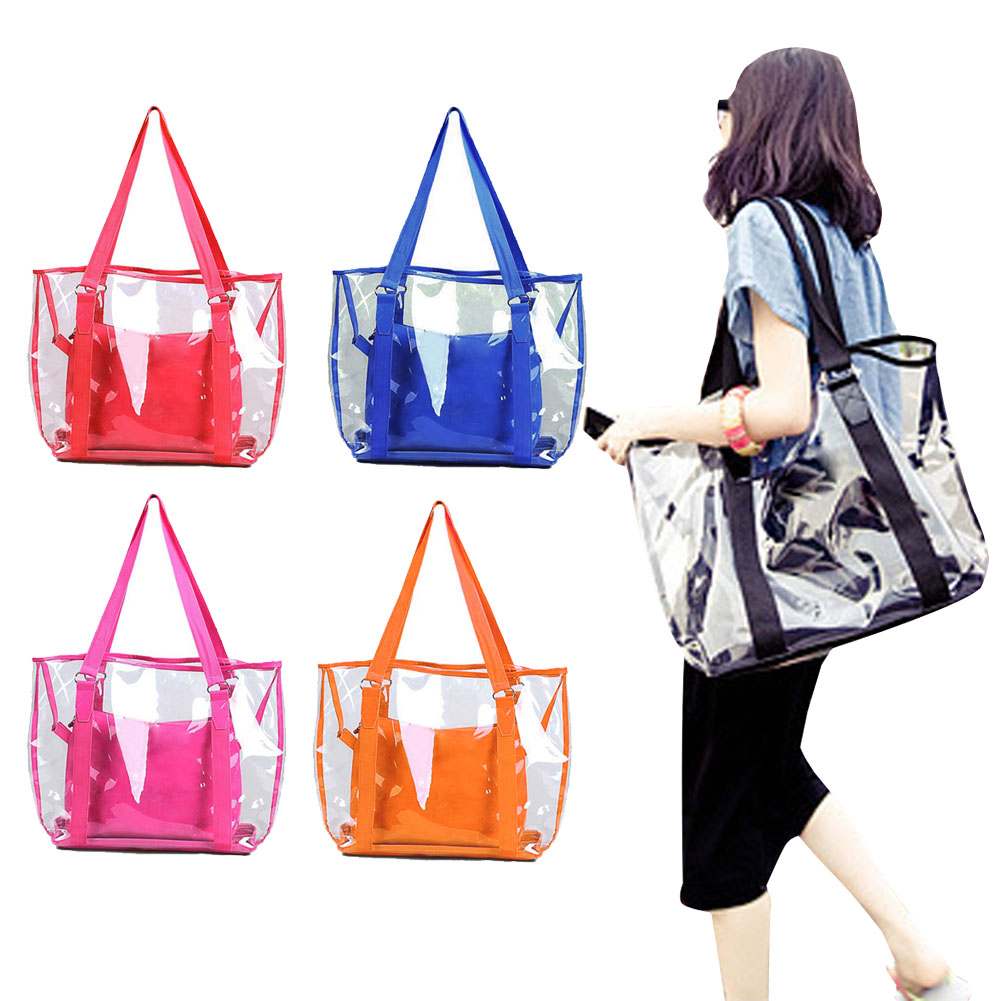 Fashion Women Jelly Candy Clear Transparent Handbag Tote Shoulder Bags Beach Bag 4 color(China (Mainland))