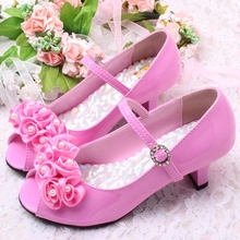3 Colors Good Quality  Children White Flower Pearls Shoes Girls High Heel Sandals Kids Wedding Shoes Children Size 26-36(China (Mainland))