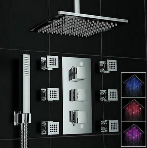US-W LED 8 Inch Ultra Thin Rain Shower + Valve Massage Jets + Hand Sprayer Shower Set Faucet(China (Mainland))