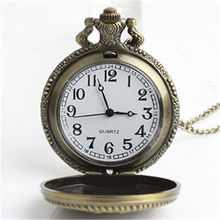 High Quality Retro Style Bronze Steampunk Quartz Necklace Pendant Chain Clock Pocket Watch for women men(China (Mainland))