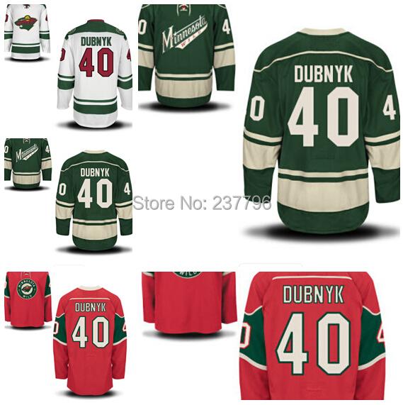 Minnesota Wild #40 Devan Dubnyk Jersey Ice Hockey Green Red White Devan Dubnyk Minnesota Wild Jerseys All Stitching Top Quality(China (Mainland))