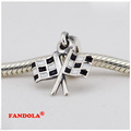 Fits Pandora Charms Bracelet 925 Sterling Silver Beads Chequered Flasgs Dangle Charm for Women DIY Jewelry