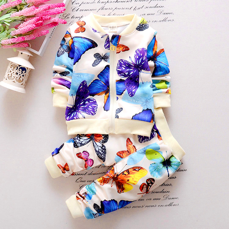 2016 new fashion spring childern leisure clothing set baby girls Colorful butterfly movement suit kids long-sleeves clothes suit(China (Mainland))
