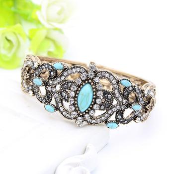 Vintage Turkish Women Flower Resin Green Stone Bangle Mellow adjust Cuff Antique Gold Color Bracelet Arabia India Bridal Jewelry