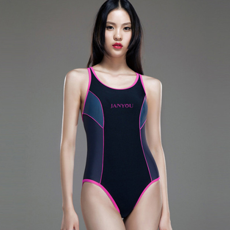 Color Patchwork One Piece 2015 New Woman Swimsuit Brand Bathing Suits Sports Wear Elegant Slimming Swim Suits For Female Ladies(China (Mainland))