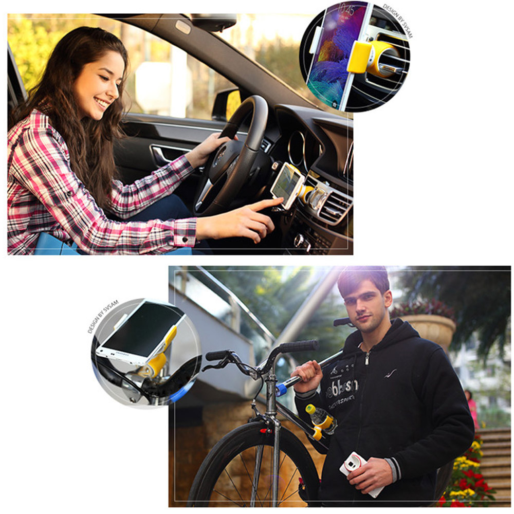Original Universal 360 Degrees Air Vent Mount Steering-wheel Bike Bicycle Car Phone Holder Stands for Mobile phone Gym Black(China (Mainland))