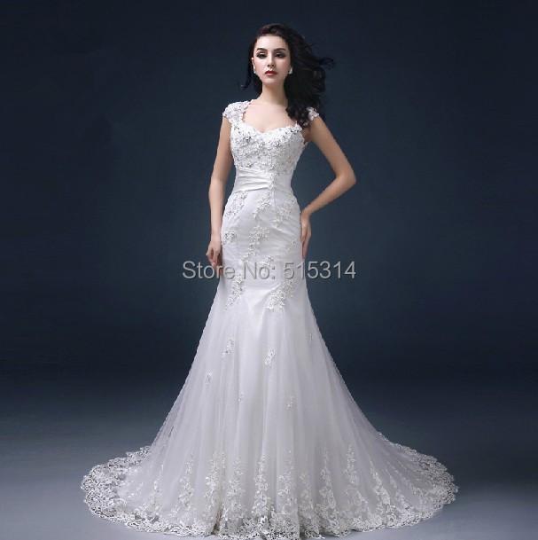 Custom Made Sexy 2015 New Real Image Long Lace Tail Open Back Floor Length Alibaba Wedding Dresses Free Shipping SA54(China (Mainland))
