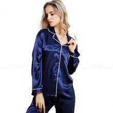 Womens Silk Satin Pajamas Pyjamas Set Sleepwear Loungewear U.S.S6,M8,M10,L12,L14,L16,L18,L20 S ~3XL Plus Size(China (Mainland))