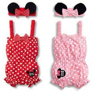 Baby Girl Rompers(0-2y)  Retail Wholesale Baby Girls Minne set (Jumpsuit+Headdress) new born baby clothes Set/Lot
