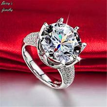 S925-sterling-silver большой CZ алмаз ювелирные изделия роскошь кольцо помолвка bague свадьба кольца для женщины бижутерии аксессуары