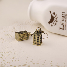 Free shipping Ancient Silver TARDIS Necklace Doctor Who Earrings Mysterious For Men And Women Hot Movies