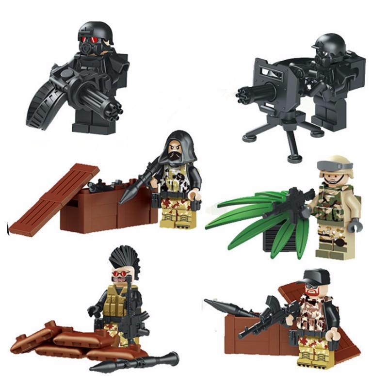 Heavy Machine Gun Rocket Special Forces Battle SWAT World War CS Navy Seals Team BDU Building Bricks Compatible With Bricks Toys(China (Mainland))